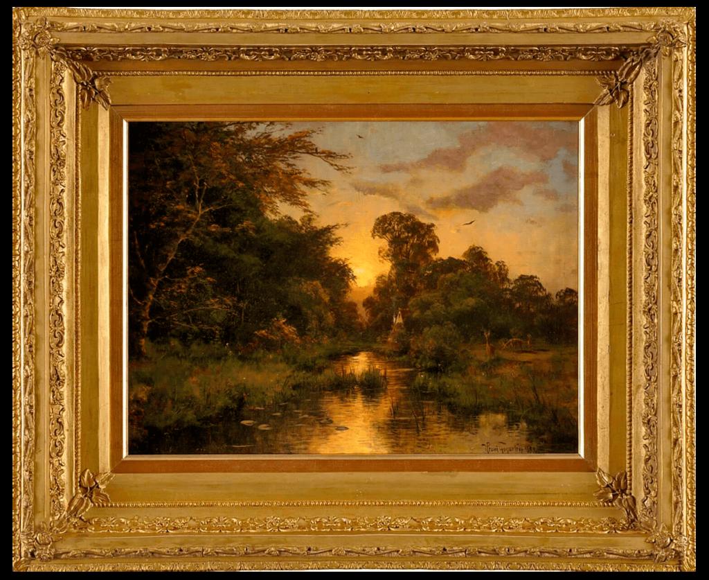 Фото картины «Закат с прудом и домиком», холст, масло. Художник Эмиль Генрих Гогартен,XIXвек, Германия.