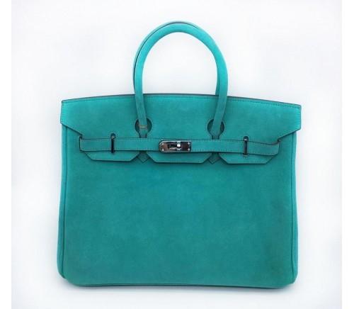 Фото сумкиHermesBirkinиз замши голубого цвета